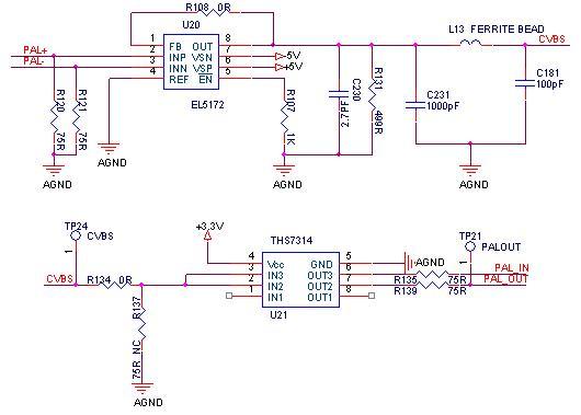 2013-9-12 20:29 秀才30分 如附件电路所示,使用el5172将差分pal信号