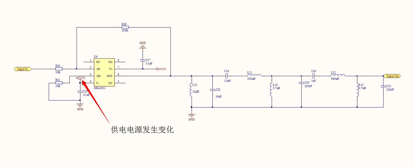 """附件所示为运放滤波电路,搭建完毕之后发现运放的-2V供电电压只有-300mV左右了,随后将滤波电路全部取出,只保留反相放大部分,供电恢复正常。测试表明只要焊接电感L13便会引起-2V电源异常,请大虾们帮忙分析解决一下!</p> <p>注:-2V由TPS7A3001输出</p><div style=""""clear:both;""""></div>"""" />"""
