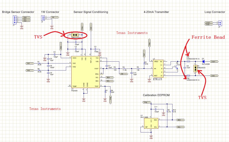 由pga309+xtr115组成的压力变送器,如何提高耐电压?