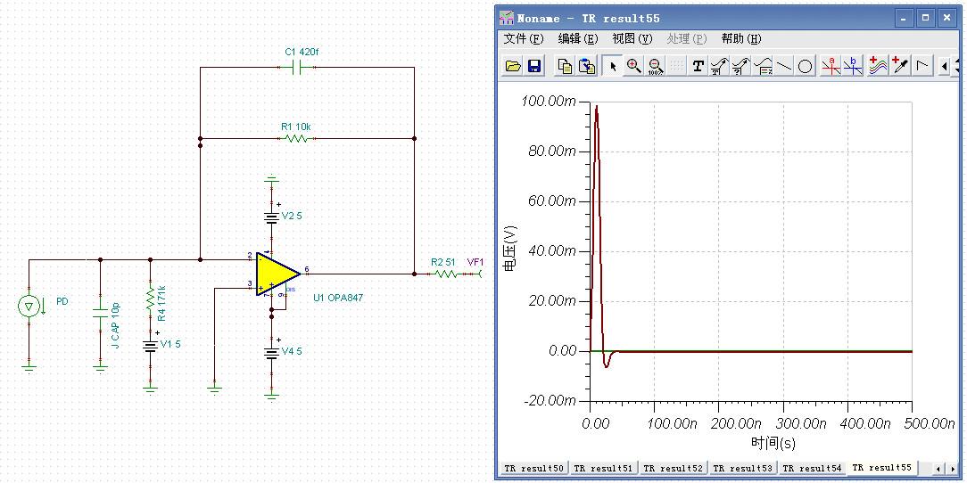opa847做tia时输出端的电压信号被抬高问题