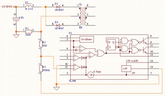 12v10a的tl494开关电源电路图