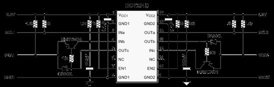 C总线接口 图 6 显示了最终的电路情况。至少使用 0.1Μf 电容器来对芯片电源进行缓冲。通过 1k 到 10k电阻器,始终将激活输入端连接至各个电源轨。这些电阻器可控制进入电源线路的浪涌瞬态所引起的芯片突入电流。利用滤波器电容(此处为 220pF)来抑制敏感的 CMOS 输入噪声,是一种较好的模拟设计方法。 没有隔离电源,隔离设计便不完整。图 7 显示了一种低成本、隔离式 DC/DC 转换器设计,用于替代昂贵的集成 DC/DC 模块。主副电源均可以在 3.