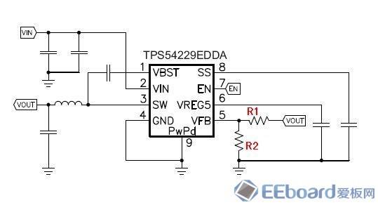 """这个评估模块的默认输出电压是: V=1.05V,可以通过调节R1和R2的阻值来得到不同的输出。默认情况下的测试图如下:  上面的图片是默认情况下,空载输出,测试电压如图,VOUT=1.0592V。 为了实现5V的电源输出,需要计算一下R1和R2的阻值,并对板子上的电阻进行替换。在TPS54229EEVM的说明书中,写明:""""For higher output voltages of1."""