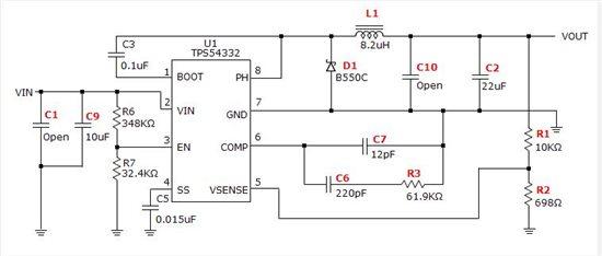 desktop 软件设计了一个电源转换电路  dc-dc,使用的芯片是tps54332d