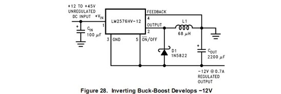 lm2576s-5v输出电压怎么不是负电压?