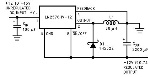 上面就有输入+12v,输出-12v的电路图