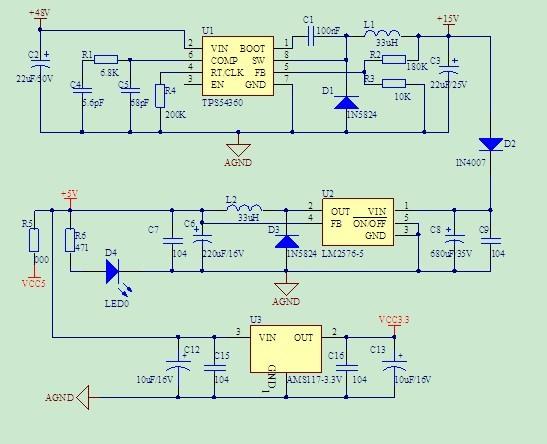 【原创】+基于tps54360的电动车控制器电源电路设计