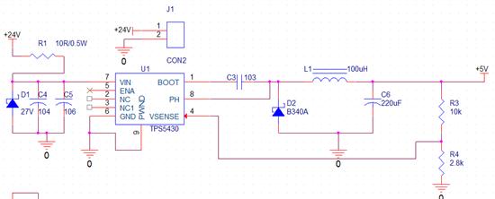 技术论坛 模拟与混合信号 电源管理 tps5430发烫  0.