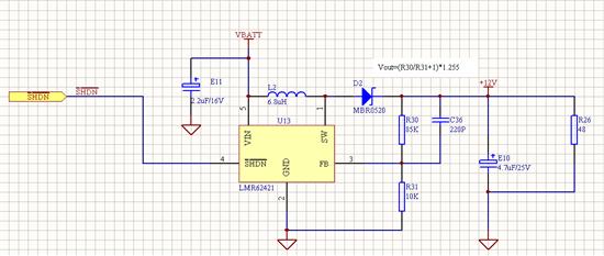 Hi 按照您这个设计: Vi=3.6V, Vo=12V/0.25A, 假设效率85% 占空比=(Vo-Vi)/(Vo*η)= (12-3.6)/12/0.85=82% 电感纹波电流=Vi*D/2Lf=0.14A 电感的最大电流= 12*025/3.6/0.85+0.14=1.12A 所以在您的电路中,如果负载最大是0.25A, 而电感选择6.8uH, 电感饱和电流推荐1.4A以上,如果输出电流超出0.