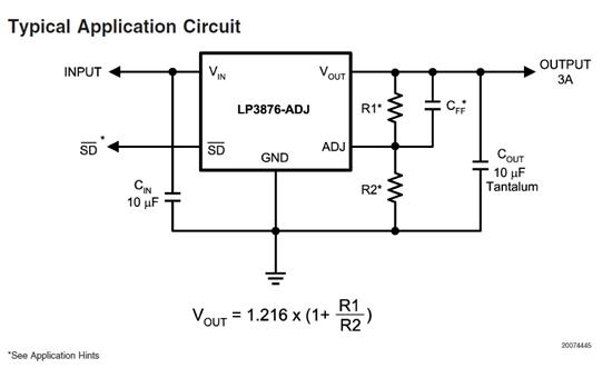 lp3876es-adj 输出电压不稳定