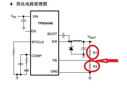 我们先看看tps54340的典型应用电路图