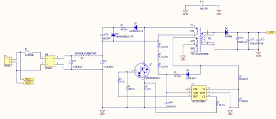 各位大神们,现在参考TI的参考设计,做了一款AC-DC转换器,但是没有3.3V输出,于是我去测量UCC28700的VDD,发现电压值为13.8V,而UCC28700的启动阈值为21V,所以看似控制器没工作,也就是说变压器AUX线圈输出电压值不对,但是这个变压器也是TI参考设计所选的型号,这个问题点出在什么地方呢,怎么才能让这个转换器工作起来啊?