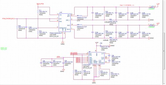 电路原理基本是参考设计图1。  通道L4经常短路,对地电阻7Ω~24Ω均有,开关频率如图2。  测量正常电路板: 该芯片输入5V,输出两通道,其中电压为L4是3.3V,后端负载只有显示屏恒流背光驱动芯片lt3217,其使能为pwm调制,750HZ,10%设置。 测得L4 3.3v通道,电流变化610mA,上升达670mA,图3。  TPS62410原理图设mode设置为pwm模式,测得该通道重载时开关频率占空比337ns,图4。轻载时开关频率占空比296ns,图5。   将r9去掉