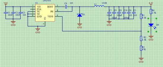 在舵机转动的时候电压波纹变化很大: 原理图:  这是输出5V的时候的波纹带动舵机的波纹  这是输出8.4V时带动舵机的波纹  从波形上看出,在输出8.4V时带动舵机时的波纹明显比5V时的大很多。5V时尖峰电压在5.5V左右,相差0.5V左右,但是输出8.4V时尖峰电压在9.4V左右,相差1V左右,这是什么原因呢?是芯片本来就是这样还是什么原因?请各位大神指点一下,谢谢。
