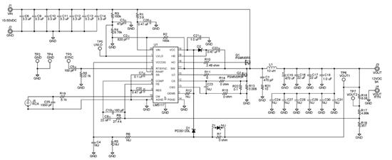 如图,硬件原理图基本同TI的官方DEMO板,电感更换为15uH,MOS管更换为仙童的FDP150N10,不使用内部LDO,VCC由外部13.4V电源供电。</p> <p>主要出现问题有两个</p> <p>1)上MOS开通瞬间,下管驱动波形出现振荡,振荡幅度可达±10V以上,频率在55M级别;</p> <p>2)电流超过3A后,开关频率降低为120KHz(原来为230KHz),MOS驱动波形上出现窄脉冲(窄脉冲的出现频率大致为230KHz
