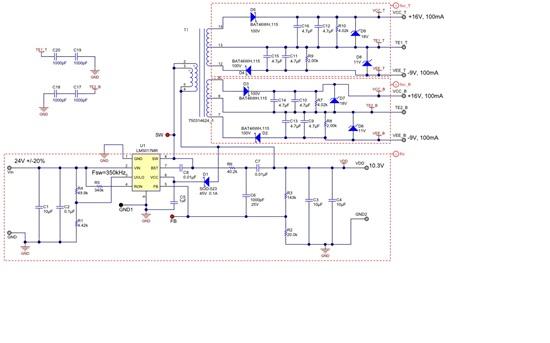 请问XP老师: 使用LM5017的Fly-Buck拓扑,非隔离的Primary output不接任何负载(即VDD和GND2输出的10.3V不用),那么隔离后的4路输出能正常输出吗?如果Primary output不接任何负载,高频变压器的初级线圈好像没有回路呀,次级能正常输出吗? 另外,我的设计输出需要15W,LM5017,LM5160功率偏小,请推荐一款功率稍微大点的芯片,谢谢!