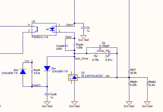 您好, 这个电路应该是用来做副边缓启动的电路。最开始上电的时候,Vo1电压很小,Vfb电压很小,所以LMV431内部基准和vfb比较,使得lmv431要拉很大的电流,有可能会导致输出电压过冲。加入这个电路后,可以看到由于Vo1要给Csoft充电,所以一开始Voutss电压很小,Dst会导通,分流一部分的电流,使得comp口电压缓慢上升,从而达到缓启动的作用。Dsb的作用是, 如果没有Dsb, 那么如果反复快速开关机,Csoft上的能量仅仅通过Rsoft来释放比较慢,没办法实现比较好的副边缓起,Dsb如果导