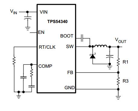 电源管理 tps54340 dcdc芯片问题  芯片的外围简化电路如下: 1,自举
