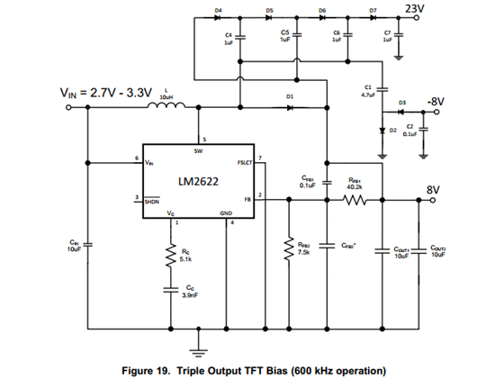Hi 如果输入必须要达到7.2V, 选择类似的升压芯片,只要输入电压大于7.2V即可,采用boost + chargepump的设计方式,例如LM2622之类:  上面的电路需要调整,这个芯片最高输入电压可以用到7.2V, 调节反馈将+/-8V改到+/-15V 23V那路不要了.