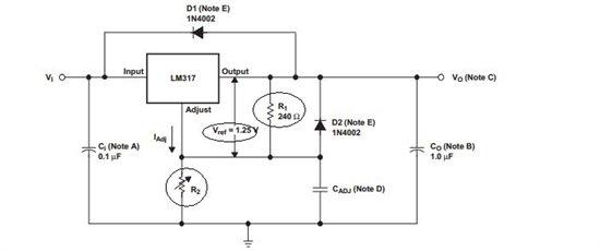 TI FAE:Max Han,Osial,Scott Sun,解答了楼主的问题,并且提供了详细的设计方案。从TI技术人员的细致的回答中,我们可以更加深入的了解LM317这款控制芯片,以及知道了在设计中如何更好的使用它,下面我们就一起去学习一下LM317这款芯片,如下图所示,是LM317的基本封装结构图:  如上图所示,我们可以看到,LM317的PIN脚是极为简单的,只有基本的三个功能脚,分别是输入PIN,输出PIN,以及ADJUST,控制电压调节PIN,但是其封装结构却十分多样,从SOT223的贴片封装
