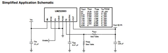 如下是简单电路,实际应用电路还要输入输入输出的电容选择