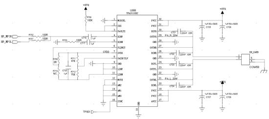 TI工程师好!我在使用TPA3118做一个功放电路时遇到通电有250mA电流的问题。下图是我的电路图,请帮忙分析故障原因。谢谢!
