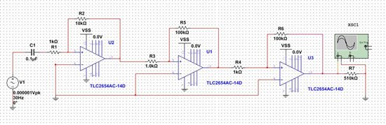 tlc2652双端输入放大电路