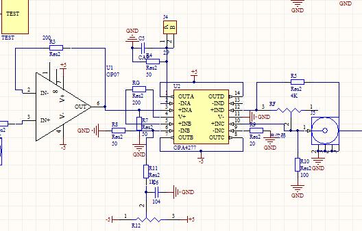 这是我设计的版图原理图,其中电源都接了滤波电容,DA1是DA输入的控制电压。我很怀疑Vref接出来的20ohm电阻是不是太小会导致自激电流太大。但现在换成了50ohm还是发热。请您看看还有没有可能出现的问题,谢啦