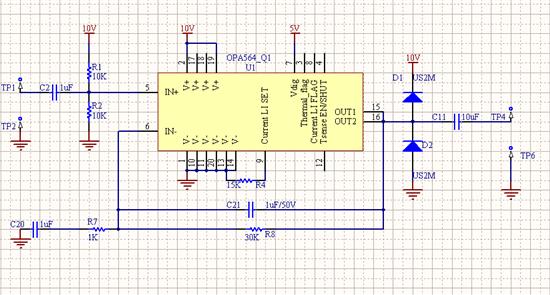 目前在测试TI的OPA564功放,我们关心的频率是50K-1.3M,测量原理和步骤如下 结果是500KHz以下,谐波非常严重,只差10个dB, 1MHz以上才能到30dB, 帮看看电路和测试方法是否有什么问题,如何改进电路,或者TI有没有更好的功放推荐,谢谢 OPA564测试原理图  测试仪器: 安捷伦10M信号发生器 诺德施瓦茨3G频谱分析仪 测试条件: 信号发生器输出固定600mV峰峰值正弦波连接功放输入端,逐步改变频率(测试100KHz-1.