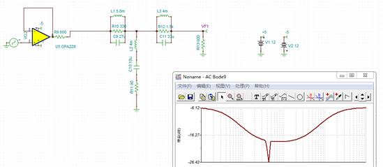 如下图一所示带阻网络电路输入与输出电阻都是600欧姆,前面加了个跟随器,我测了VF1与VF2他们的波形为什么是一样的,按道理VF1是经过VF2通过带阻后会不一样,而且相对与输入信号VG1会有衰减?为什么?图三是带阻网络的幅频特性曲线。图一图二图三