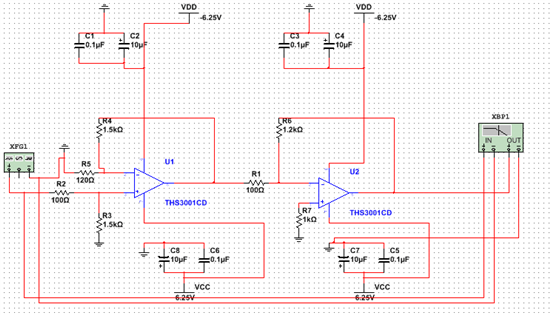 ths3001级联组成放大电路