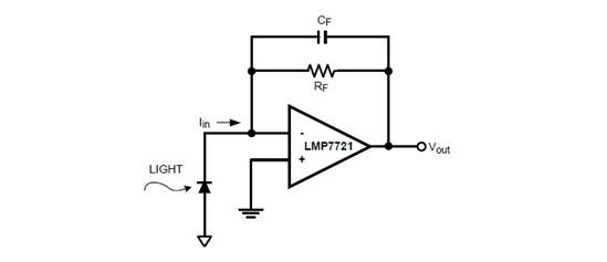 这个光电二极管 和运算放大器的正极