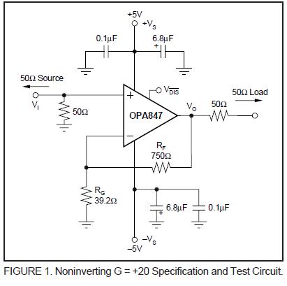 技术论坛 模拟与混合信号 放大器 opa847输出直流分量的问题  电路图