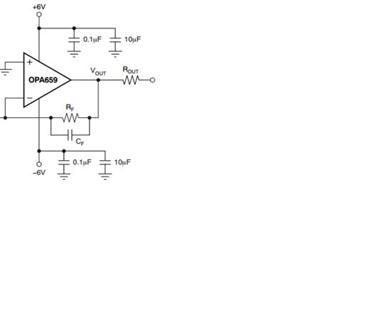"<a href=""http://www.ti.com.cn/product/cn/opa659"" target=""extwin"">opa659</a> 是JFET输入的宽带放大器,用于IV转换电路,RF和CF越大,带宽越小。</p> <p>但是电荷放大电路 也是同样的结构(RF和CF),电荷放大的时候RF一般选用几百M或者1G的电阻。</p> <p>这种情况下,按理论分析,带宽会非常小,但实际中,电荷放大电路对输入的陡"