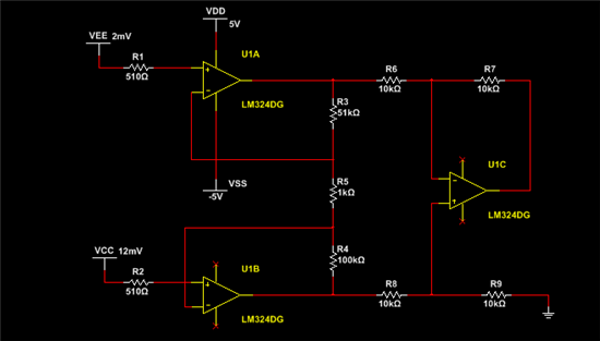 数据手册上的差分放大电路,lz用来对毫伏级别的直流信号进行放大.