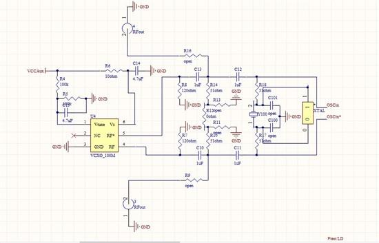 """小弟在使用这款芯片的时候遇到了问题,请各位大侠帮帮忙<img alt="""" """">我。</p> <p>我原来想用这款芯片产生400M的频率,介于实验室示波器最大能测到200M频率,出于对功能的测试,我对芯片寄存器配置让其产生100M的频率,我之前失败过一次,原因是配置寄存器后晶振能够振起来,但是没有输出,我以为是自己设计有问题,这次用了TI关于<a href=""""http://www."""
