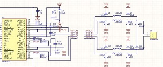 接滤波电路的问题】drv8432后面接双极性大电容大电感的低通滤波电路