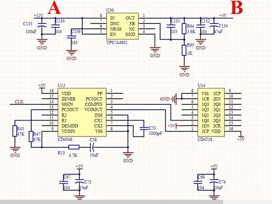 此电路工作时5v电源上(即电路中的a点)会有一个和cd4