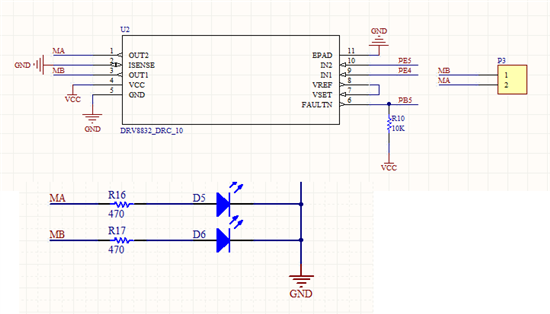 """我采用了<a href=""""http://www.ti.com.cn/product/cn/DRV8832"""" target=""""extwin"""">DRV8832</a>驱动一个玩具的直流电机,但发生了问题。</p> <p>电路图如下:</p> <p>其中VCC为5V。</p> <p>在我未接入直流电机之前,给PE4低电平,PE5高电平,LED指示<a href=""""http://www."""