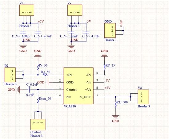 2、你的阻抗匹配存在问题。你是设计了50欧姆的电阻去匹配输入端,但是你的排针可不是50欧姆阻抗。所以接上排针容易出现问题,这种应用场合推荐使用SMA座子。 3、你的布局器件距离芯片太远,特别是滤波电容。小电容滤波半径根本覆盖不到,要尽可能的靠近引脚。