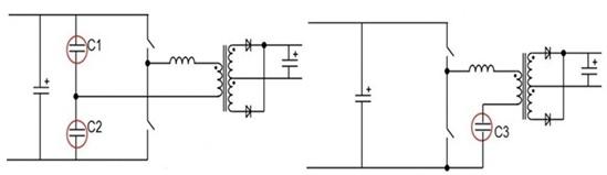 功率电路采用对称半桥的结构谐振电容的